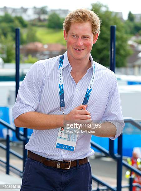 Prince Harry arrives at Hampden Park to watch the athletics during the 20th Commonwealth Games on July 29 2014 in Glasgow Scotland