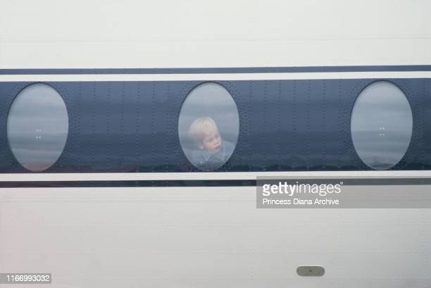 Prince Harry arrives at Heathrow Airport by the Queen's Flight from Scotland September 1986