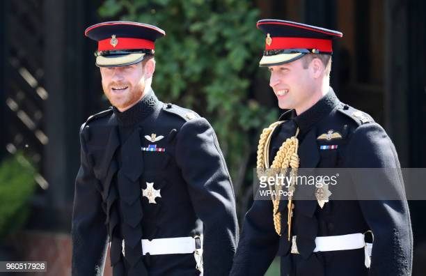 Prince Harry arrives at his wedding to Ms. Meghan Markle with his best man Prince William, Duke of Cambridge at St George's Chapel at Windsor Castle...