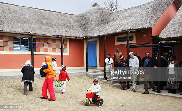 Prince Harry arrives at LCCU on July 9, 2008 in Maseru, Lesotho. Prince Harry and 26 soldiers from the Household Cavalry are in Lesotho working to...