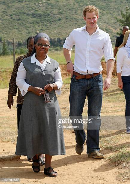 Prince Harry arrives at the Kananelo Centre for the deaf, a project supported by his charity Sentebale on February 27, 2013 in Maseru, Lesotho....