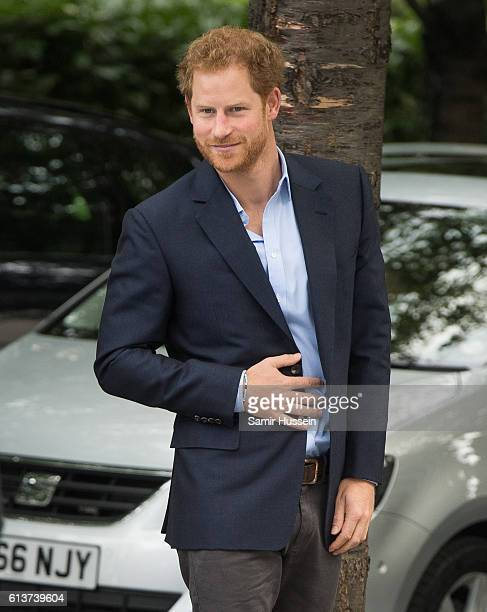 Prince Harry arrives at the London Eye on World Mental Health Day on October 10 2016 in London England