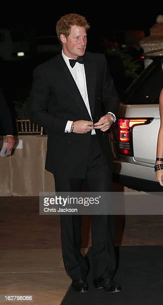 Prince Harry arrives at the Sentebale Gala Dinner at Summer Place on February 27 2013 in Johannesburg Lesotho Sentebale is a charity founded by...