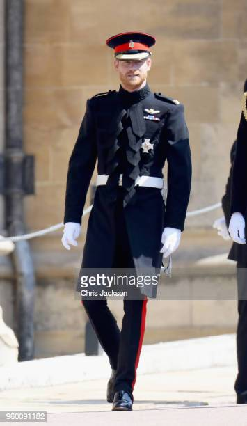 Prince Harry arrives at the wedding of Prince Harry to Ms Meghan Markle at St George's Chapel Windsor Castle on May 19 2018 in Windsor England Prince...