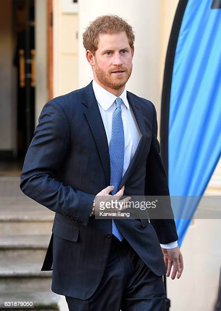 Prince Harry arrives for a briefing to announce plans for Heads Together ahead of the 2017 Virgin Money London Marathon at ICA on January 17 2017 in...