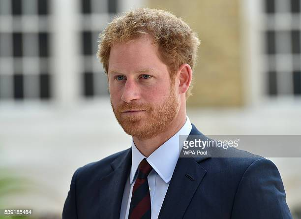 Prince Harry arrives for a reception at the Guildhall following the National Service of Thanksgiving for Queen Elizabeth II's 90th birthday at St...