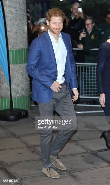 Prince Harry arrives for a visit to The London Ambulance Service for the Heads Together mental health charity in support of 'Time to Talk' day on...