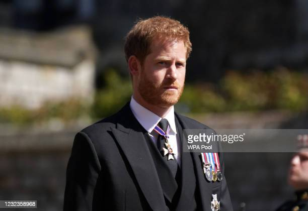 Prince Harry arrives for the funeral of Prince Philip, Duke of Edinburgh at St George's Chapel at Windsor Castle on April 17, 2021 in Windsor,...
