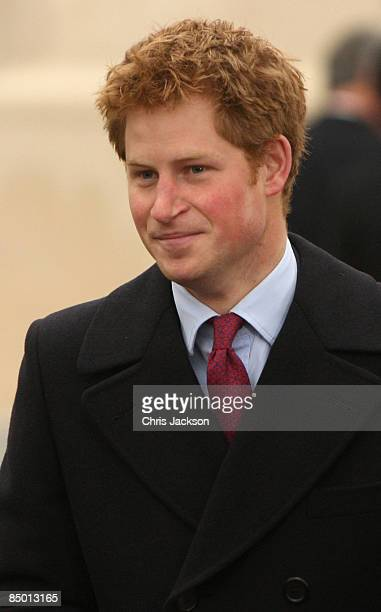 Prince Harry arrives for the unveiling of a new statue of Queen Elizabeth, the Queen Mother on the Mall on February 24, 2009 in London, England. The...