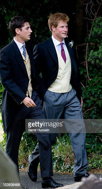 Prince Harry arrives for the wedding of former Royal Equerry Mark Dyer and Amanda Kline at St Edmund's Church on July 3 2010 in Abergavenny Wales