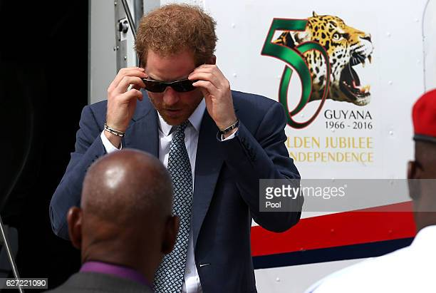 Prince Harry arrives in Guyana on the final stop of his 15day tour of the Caribbean on December 2 2016 in Georgetown Guyana Prince Harry's visit to...