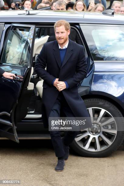 Prince Harry arrives to a walkabout at Cardiff Castle on January 18 2018 in Cardiff Wales
