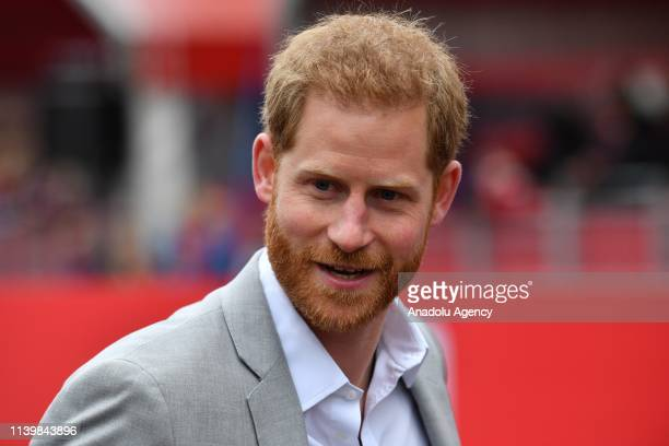 Prince Harry arrives to give medals at the London Marathon in central London on April 28 2019