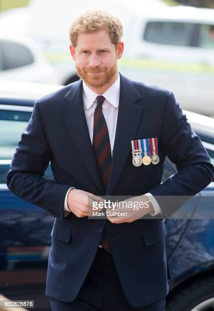 Prince Harry arrives to present 12 pilots from Course 17/02 of the Army Air Corps with their Wings during a ceremony at Museum of Army Flying on...