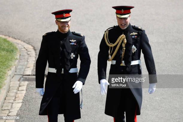 Prince Harry arrives with his best man Prince William Duke of Cambridge for the wedding ceremony of Prince Harry and US actress Meghan Markle at St...