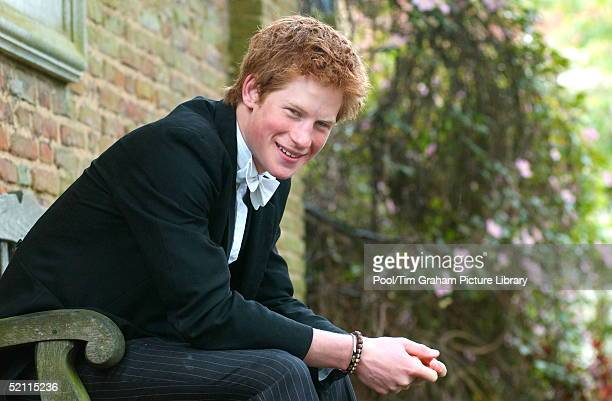 Prince Harry At Eton College Boarding School Wears School Dress Black Tailcoat And Waistcoat And Pinstriped He Has 'stickups' Because He Is House...