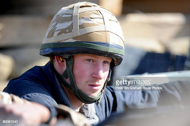Prince Harry at the observation post on JTAC Hill close to FOB Delhi on January 2 2008 in Helmand province Southern Afghanistan