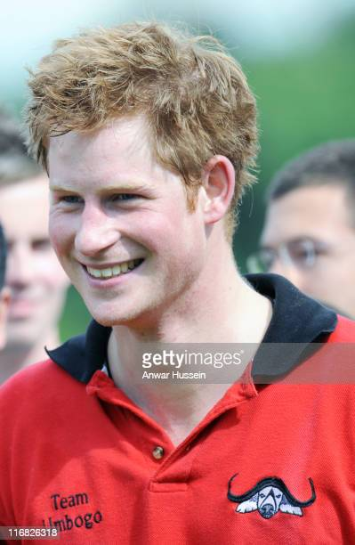 Prince Harry attends a charity polo match at Cirencester Park Polo Club on June 7 2009 in Cirencester England