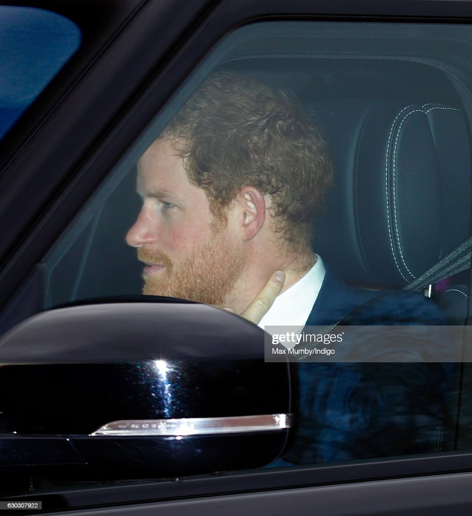Prince Harry attends a Christmas lunch for members of the Royal Family hosted by Queen Elizabeth II at Buckingham Palace on December 20, 2016 in London, England.