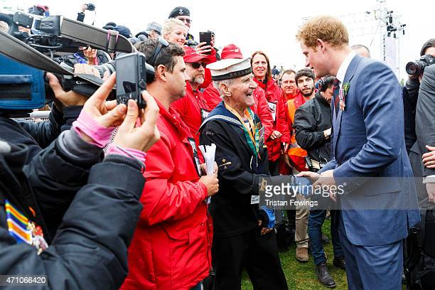 Prince Harry attends a commemorative ceremony marking the centenary of the Gallipoli campaign at Lone Pine on April 25 2015 in Eceabat Turkey Turkish...