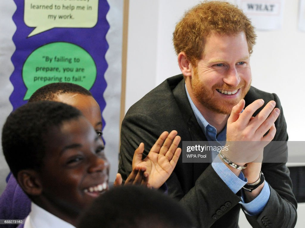 Prince Harry attends a lyrical writing class during a meeting with teachers and tutors during a visit to the Full Effect and Coach Core programmes at Nottingham Academy on February 1, 2017 in Nottingham, England. The two projects supported by The Royal Foundation work to improve opportunities for young people.