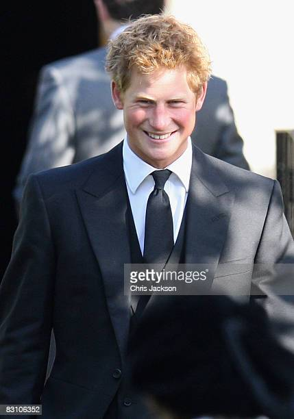 Prince Harry attends a thanksgiving service for Gerald Ward godfather of Prince Harry at St Mary's Church Chiltern Foliat on October 3 2008 near...
