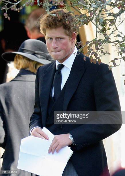 Prince Harry attends a thanksgiving service for his godfather Gerald Ward at St Mary's Church Chiltern Foliat on October 3 2008 near Hungerford...
