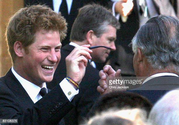 Prince Harry attends a thanksgiving service for his godfather Gerald Ward at St Mary's Church Chiltern Foliat on October 3 2008 in Hungerford England...