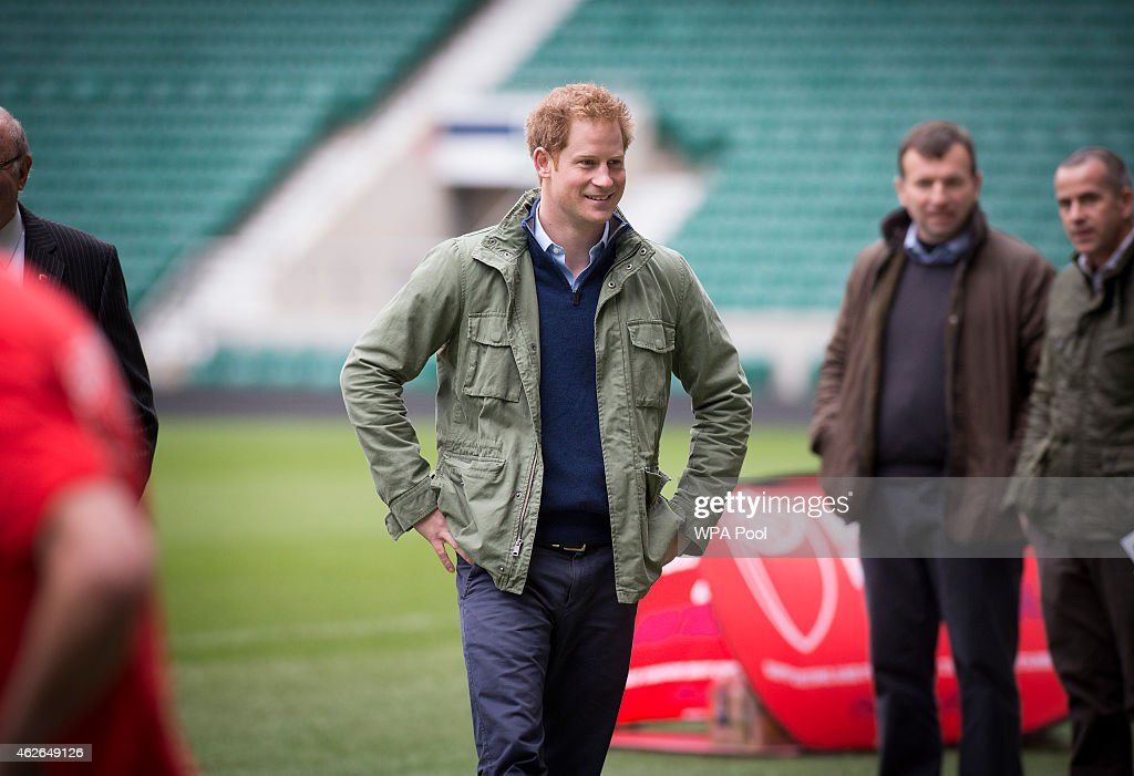 Prince Harry Meets London Marathon Runners Raising Money For RFU's Injured Players Foundation : News Photo