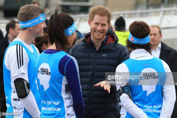 Prince Harry attends a training session for runners taking part in the 2017 Virgin Money London Marathon for Heads Together, the official Charity of...