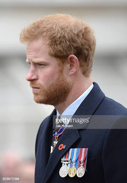 Prince Harry attends a Wreath Laying Ceremony and Parade at the Cenotaph to commemorate ANZAC Day on April 25, 2016 in London, England.