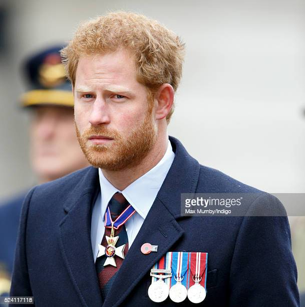Prince Harry attends a Wreath Laying Ceremony and Parade at the Cenotaph to commemorate ANZAC Day on April 25 2016 in London England
