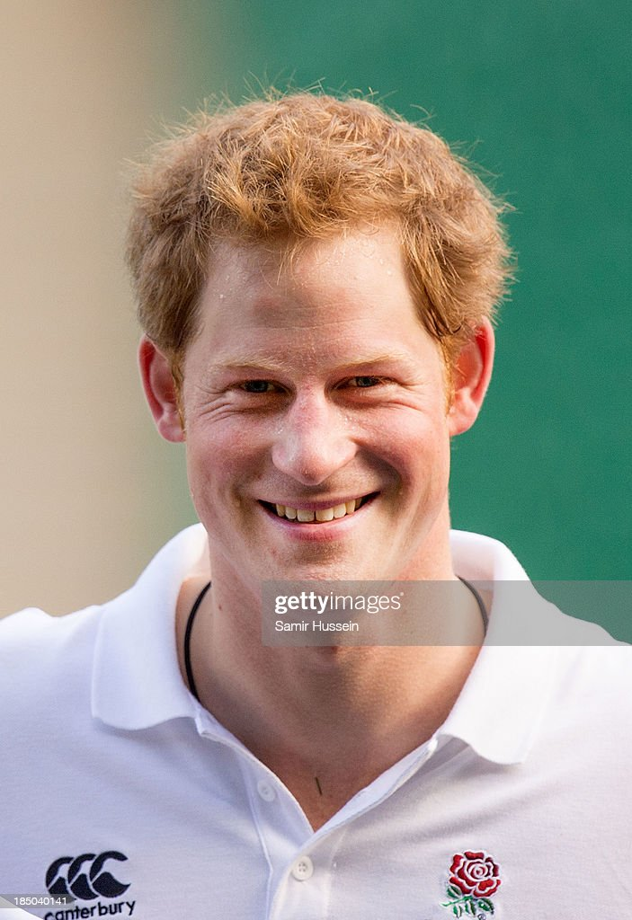 Prince Harry attends an RFU All School Programme Coaching Event at Twickenham Stadium on October 17, 2013 in London, England.