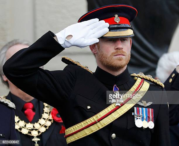 Prince Harry attends Armistice Day commemorations at the National Memorial Arboretum on November 11 2016 in Stafford United Kingdom Armistice Day...