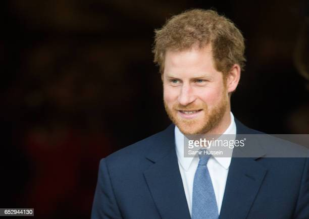 Prince Harry attends Commonwealth day celebrations service and reception at Westminster Abbey on March 13 2017 in London England