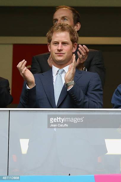 Prince Harry attends the 2014 FIFA World Cup Brazil Group A match between Cameroon and Brazil at Estadio Nacional on June 23 2014 in Brasilia Brazil