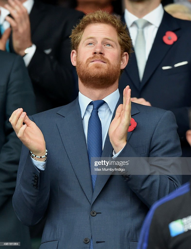 Prince Harry attends the 2015 Rugby World Cup Final match between New Zealand and Australia at Twickenham Stadium on October 31, 2015 in London, England.