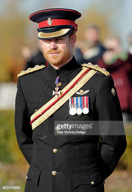 Prince Harry attends the Armistice Day Service at the National Memorial Arboretum on November 11 2016 in Alrewas England Armistice Day commemorates...