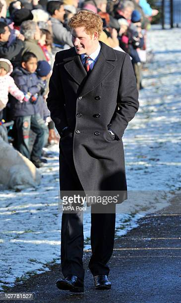 Prince Harry attends the Christmas Day Church Service with other members of the Royal family at St Mary's Church on December 25 2010 in Sandringham...