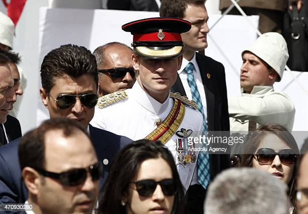 Prince Harry attends the commemoration ceremony marking the 100th anniversary of the Canakkale Land Battles on April 24 2015 at the Canakkale...