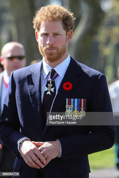 Prince Harry attends the commemorations for the 100th anniversary of the battle of Vimy Ridge on April 9 2017 in Lille France
