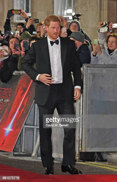 Prince Harry attends the European Premiere of 'Star Wars The Last Jedi' at the Royal Albert Hall on December 12 2017 in London England