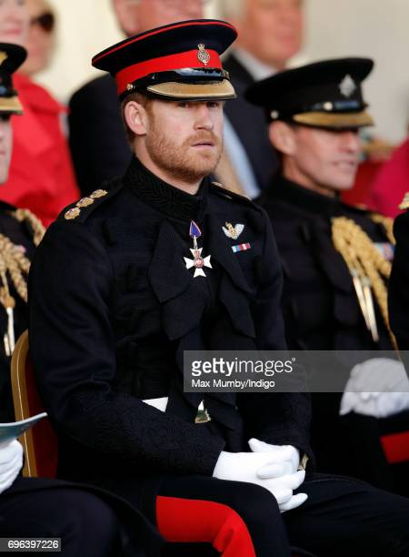 Prince Harry attends The Household Division's Beating Retreat at Horse Guards Parade on June 15 2017 in London England Beating Retreat refers to a...