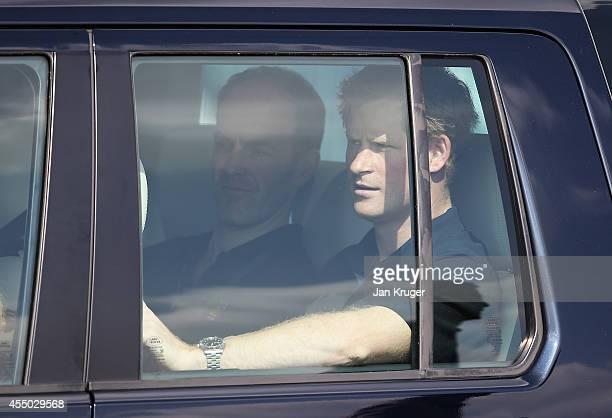 Prince Harry attends the Jaguar Land Rover Driving Challenge at Jaguar Land Rover Engineering Centre on September 9 2014 in Gaydon England The Jaguar...