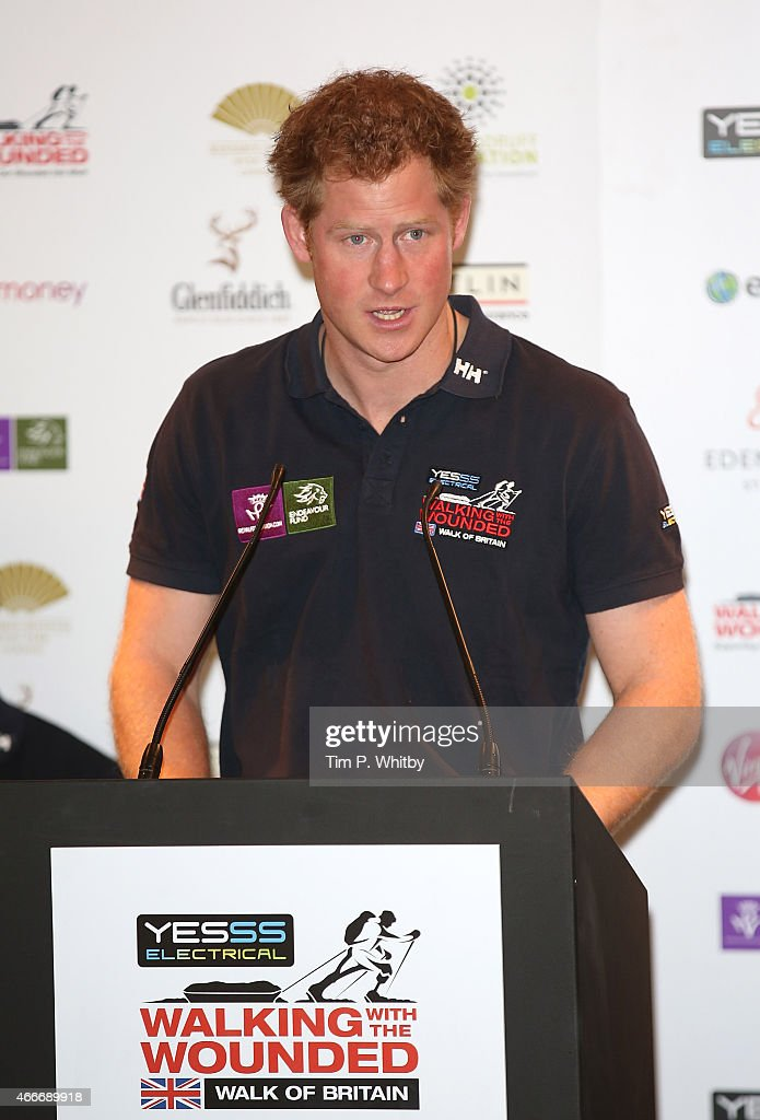 Prince Harry attends the Launch event for Walking with the Wounded at Mandarin Oriental Hyde Park on March 18, 2015 in London, England.
