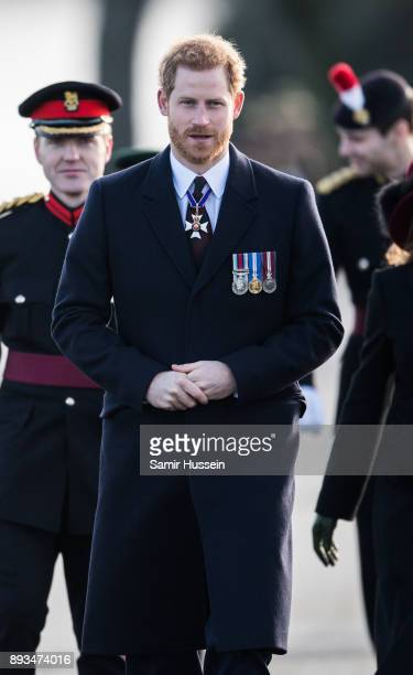 Prince Harry attends The Sovereign's Parade at Royal Military Academy Sandhurst on December 15 2017 in Camberley England