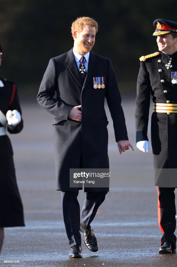 Prince Harry attends The Sovereign's Parade at Royal Military Academy Sandhurst on December 15, 2017 in Camberley, England.