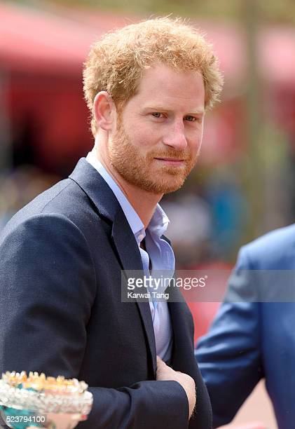 Prince Harry attends the Virgin London Marathon 2016 on April 24 2016 in London England