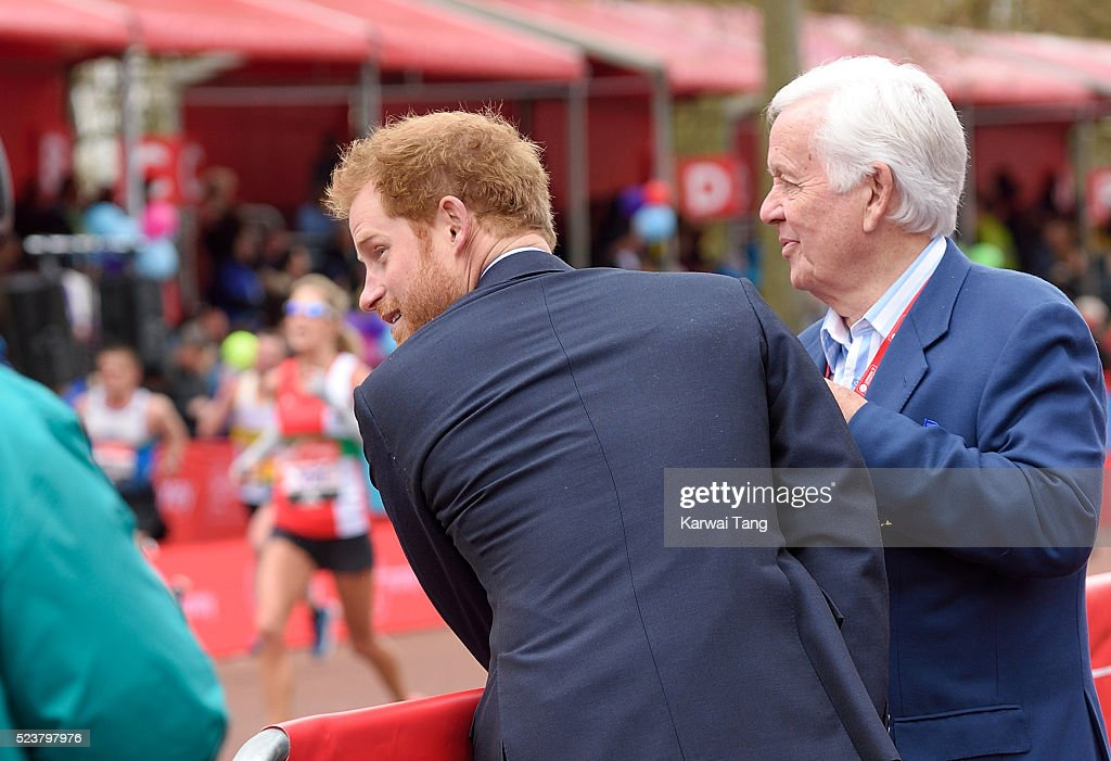 Prince Harry attends the Virgin London Marathon 2016 on April 24, 2016 in London, England.