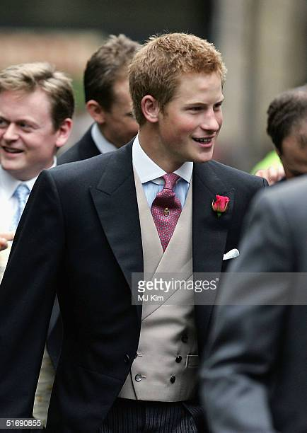 Prince Harry attends the wedding of Ed Van Cutsem and Lady Tamara Grosvenor at Chester Cathedral on November 6 2004 in Chester England Lady Tamara is...